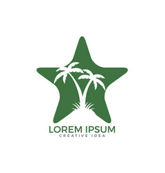 Star shaped tropical beach and palm tree logo desi vector