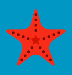 Starfish in flat style marine icon in cartoon vector