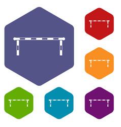 Striped barrier icons set hexagon vector
