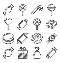 sweets and candies icons set on white background vector image