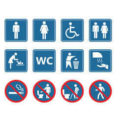 Toilet icons set restroom wc signs and prohibited vector