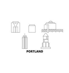 United states portland city line travel skyline vector