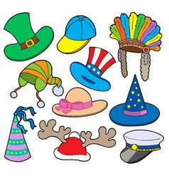 various hats collection 2 vector image