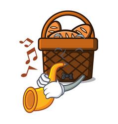 with trumpet bread basket mascot cartoon vector image