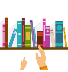 wooden bookshelf with colorful books and with colo vector image
