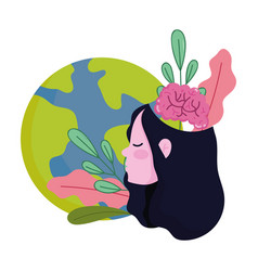 world mental health day girl with planet brain vector image