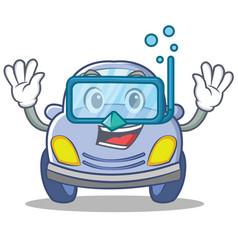 diving cute car character cartoon vector image vector image