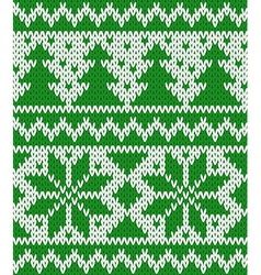 Knitted seamless pattern with fir-trees and stars vector image vector image