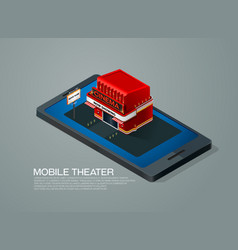 Mobile phone ticket reservation cinema theater vector