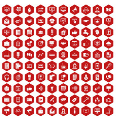 100 help desk icons hexagon red vector image vector image
