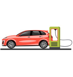 banner with electric car and charging station vector image