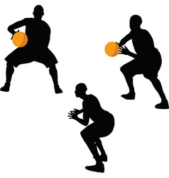 basketball player silhouette in hold pose vector image