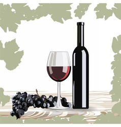 Bottle and Glass of Red wine with grapes vector image