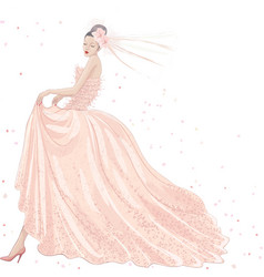 Bride in pink dress vector image vector image