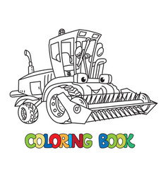 Combine or lawn mower with eyes coloring book vector