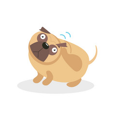 cute funny pug dog character wagging the tail pet vector image