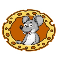 Mouse with cheese frame vector image vector image