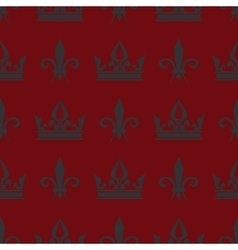 Red crowns and fleur de lis seamless vector image vector image