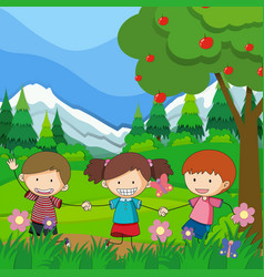 three children playing in the park vector image vector image
