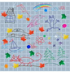 Childrens drawings on the wall vector image