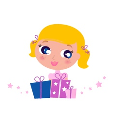 little cute girl with christmas gifts vector image