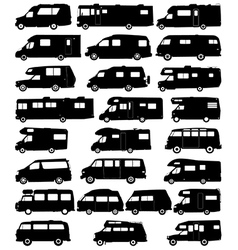 Motorhome silhouettes vector image vector image