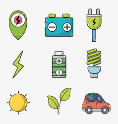 set electric car battery and energy recharge vector image