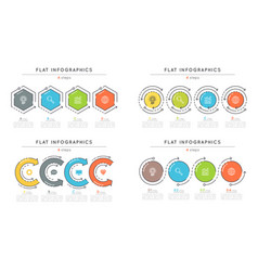 set of flat style 4 steps timeline infographic vector image