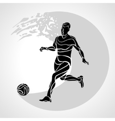 Soccer player kicks the ball The colorful vector image