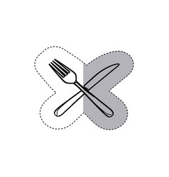 sticker figure knife and fork icon vector image vector image