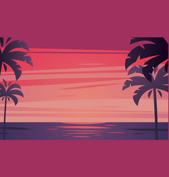 tropical sunrise with silhouette of palm trees vector image vector image