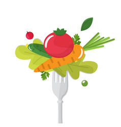 vegetables sticked on fork healthy eating concept vector image
