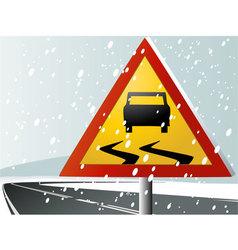 Winter road sign vector