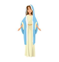 cartoon cute virgin mary character nativity design vector image