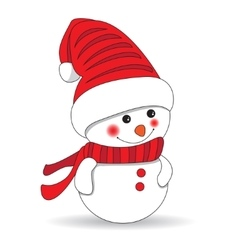 Cute snowman on white background vector image vector image