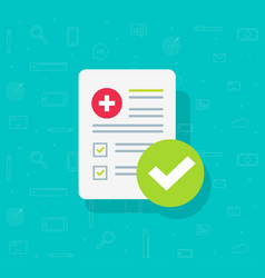 Medical form list with results data and approved vector