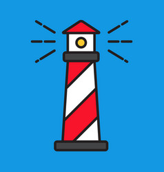 simple line red lighthouse flat style vector image vector image