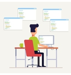 The programmer writes code on the computer Multi vector image vector image