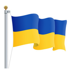 waving ukraine flag isolated on a white background vector image vector image
