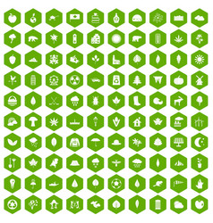 100 leaf icons hexagon green vector image