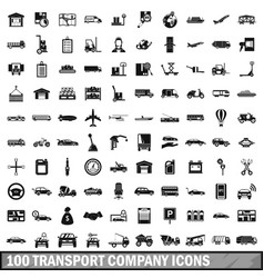 100 transport company icons set simple style vector image