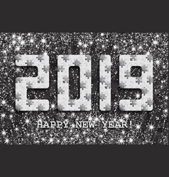 2019 jigsaw puzzle background with many silver vector image