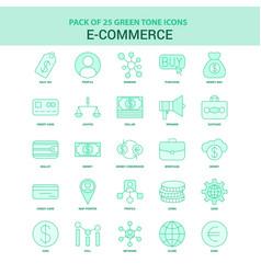 25 green e-commerce icon set vector image