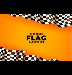 3d checkered racing flag yellow background vector
