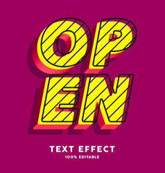 3d pop art text effect editable text vector image