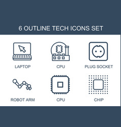 6 tech icons vector image