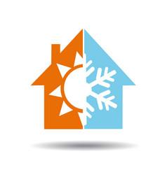 air conditioning symbol - warm and cold in home vector image