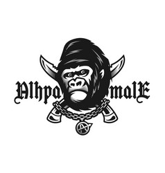 Alpha male angry gorilla and crossed knives vector