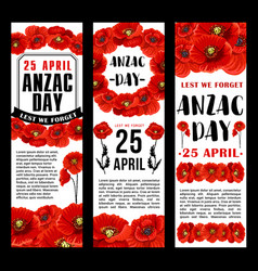 Anzac day 25 april red poppy banners vector