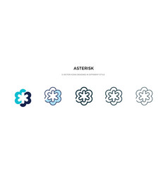Asterisk icon in different style two colored and vector
